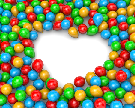 clump: Vibrant Color Balloons Arranged as Heart Frame Shape on White Background 3D Illustration
