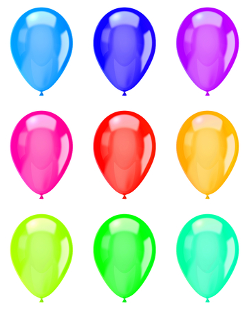 vibrant color: Vibrant Color Isolated Balloons Collection on White Background Illustration Stock Photo