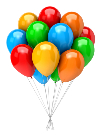Bunch of Vibrant Color Balloons on White Background 3D Illustration