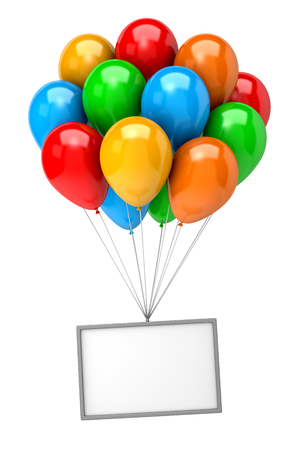 bunch up: Bunch of Vibrant Color Balloons Holding Up an Empty Banner on White Background 3D Illustration Stock Photo