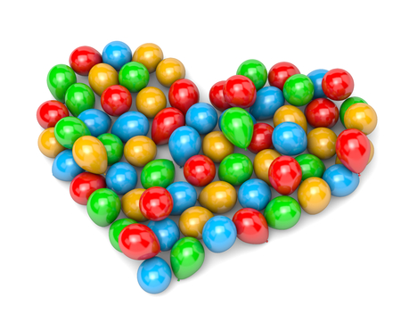 vibrant color: Vibrant Color Balloons Arranged as Heart Shape on White Background 3D Illustration