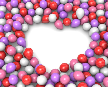 aggregation: Romantic Color Balloons Arranged as Heart Frame Shape on White Background 3D Illustration
