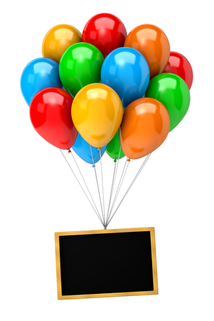 Bunch of Vibrant Color Balloons Holding Up a Blank Chalkboard on White Background 3D Illustration