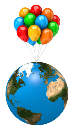 string together: Bunch of Balloons Holding Up the Earth Planet on White Background 3D Illustration