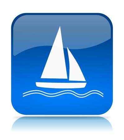 bateau voile: Bleu Voilier App Icône Illustration sur fond blanc