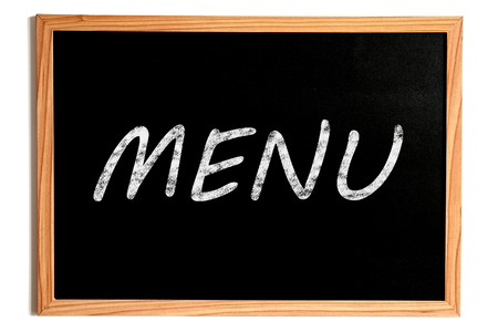 carte: Menu Chalk Text on Chalkboard with Wooden Frame on White