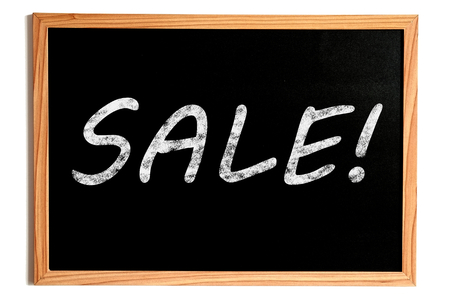 white chalk: Sale Chalk Text on Chalkboard with Wooden Frame on White
