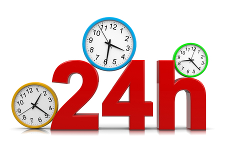 24 hour: 24h Service Red Text with Colorful Round Wall Clocks on White Background 3D Illustration