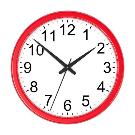 orologio da parete: Red rotonda Orologio da parete isolato su sfondo bianco Illustrazione 3D Archivio Fotografico