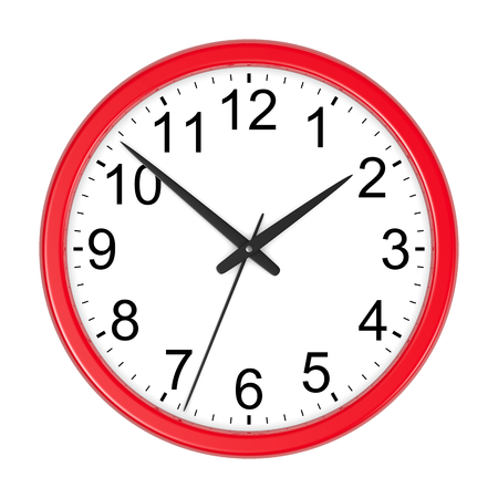 Red Round Wall Clock Isolated on White Background 3D Illustration Standard-Bild