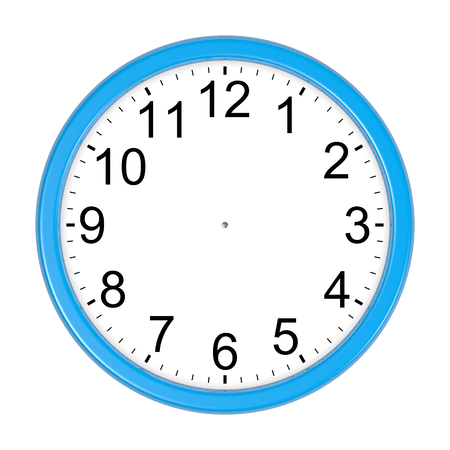 customizable: Customizable Blue Round Wall Clock Isolated on White Background 3D Illustration