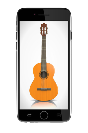 nylon: Smartphone Showing a Classical Guitar on White Background Illustration