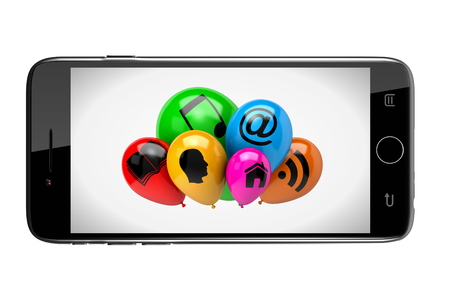 clump: Smartphone Showing a Bunch of Balloons with Icon Symbols on White Background 3D Illustration