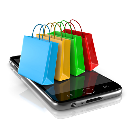 Smartphone with Colorful Shopping Bags on White Background 3D Illustration, Online Shopping Concept
