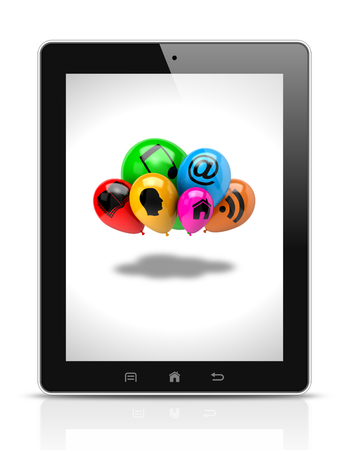 clump: Tablet Pc Showing a Bunch of Balloons with Icon Symbols on White Background Illustration Stock Photo
