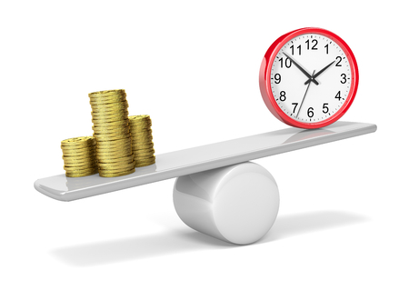 Stack of Coins and Red Clock on Balance 3D Illustration on White Background, Money Time Balance Concept