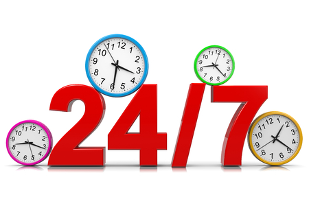 24-7 Service Red Text with Colorful Round Wall Clocks on White Background 3D Illustration
