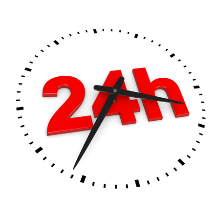 24h: 24h Service Red Text inside Round Wall Clocks on White Background 3D Illustration