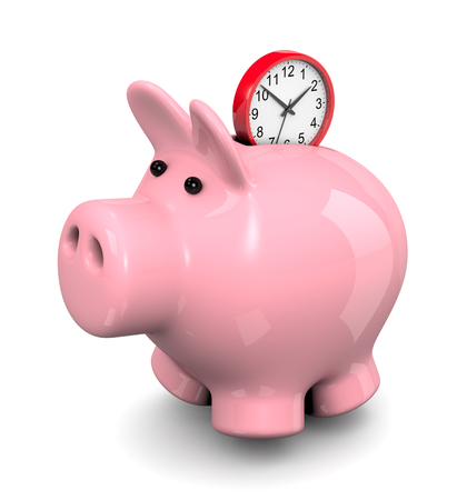 economize: Red Round Clock Entering Pink Piggy Bank 3D Illustration on White Background, Save Time Concept