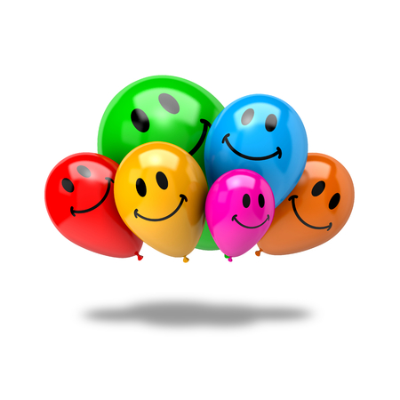 Bunch of Vibrant Color Balloons with Smiling Face Isolated on White Background 3D Illustration, Friendship Concept Standard-Bild