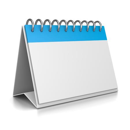table calendar: Blue and White Desk Calendar Empty 3D Template on White Backgroud Illustration