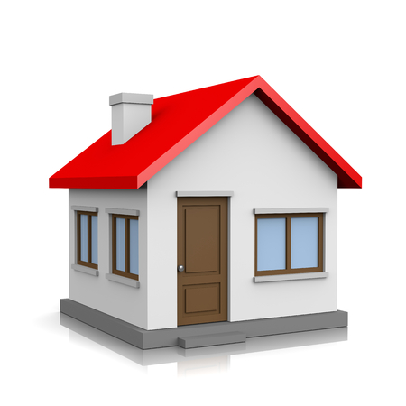 house roof: White 3D House with Red Roof on White Background Illustration