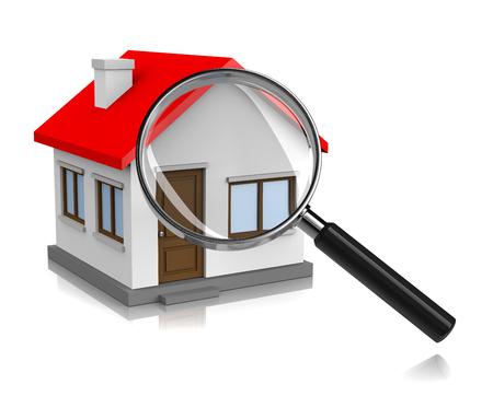zakelijk: Witte Huis met een vergrootglas op een witte achtergrond 3D illustratie, Op zoek naar Home Concept