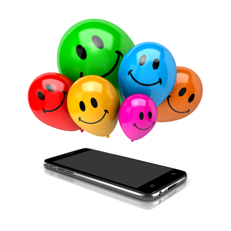 clump: Smartphone and a Bunch of Balloons with Smiling Face on White Background 3D Illustration