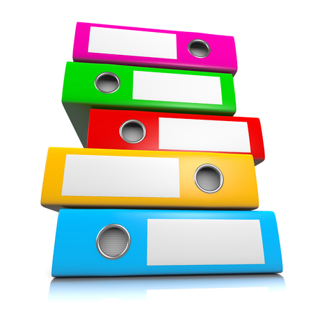 Heap of Colorful Binders Isolated on White Background 3D Illustration, Workload Concept Standard-Bild