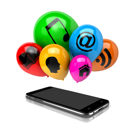 clump: Smartphone and a Bunch of Balloons with Icon Symbols on White Background 3D Illustration Stock Photo