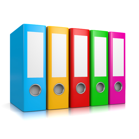 Collection of Colorful Binders Isolated on White Background 3D Illustration Standard-Bild