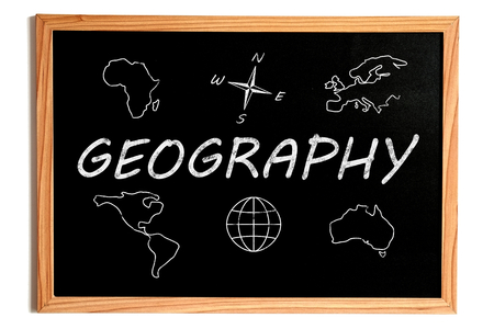 geography background: Geography Chalk Text and Related Symbols on Chalkboard on White Background