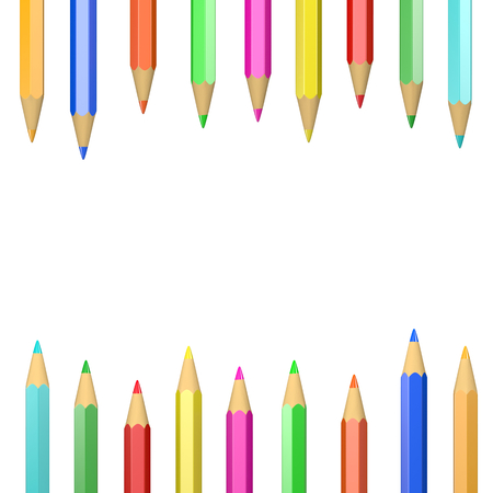 graphic pattern: Set of Wooden Crayons Illustration on White Background Stock Photo