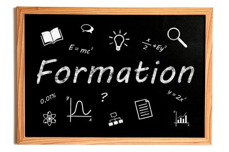 formation: Formation Chalk Text and Related Learning Symbols on Chalkboard on White Background Stock Photo