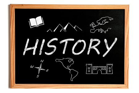 history books: History Chalk Text and Related Symbols on Chalkboard on White Background