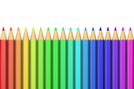 crayons: Collection of Colorful Wooden Crayons Illustration on White Background Stock Photo