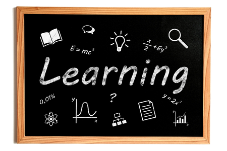 edu: Learning Chalk Text and Related Learning Symbols on Chalkboard on White Background Stock Photo