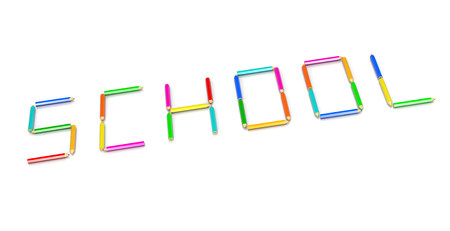 crayons: Colorful Wooden Crayons Arranged as School Text Shape Illustration on White Background