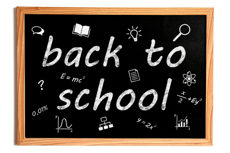 light classroom: Back to School Chalk Text and Related Learning Symbols on Chalkboard on White Background Stock Photo