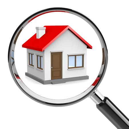 Dům s lupou na bílém pozadí 3D ilustrace, pro Home Concept Hledám