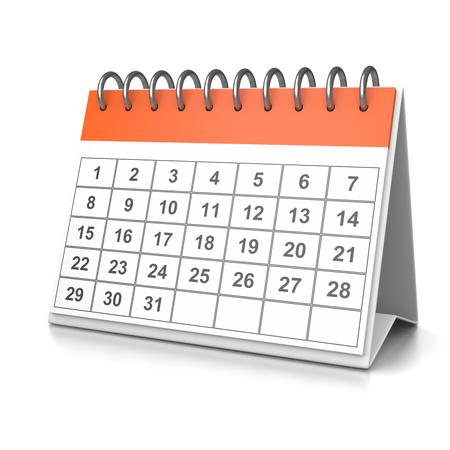 table calendar: Orange and White Desk Calendar on White Background 3D Illustration