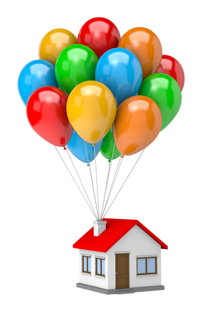 cluster house: Bunch of Vibrant Color Balloons Raising Up an House Isolated on White Background 3D Illustration