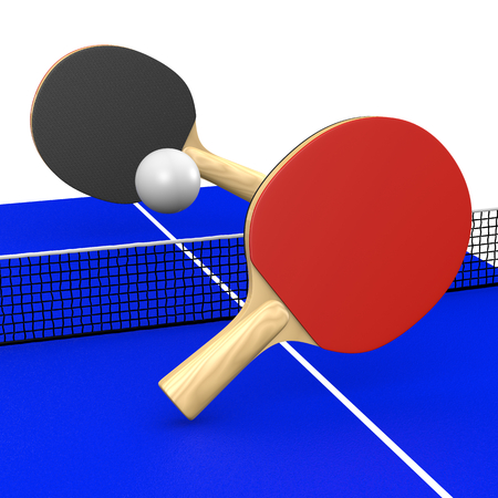 Two table tennis Bats and Ball Playing a Match on a Blue Table 3D Illustration Stock Photo