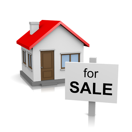 house sale: One Single House with for Sale Text Notice on Signboard on White Stock Photo