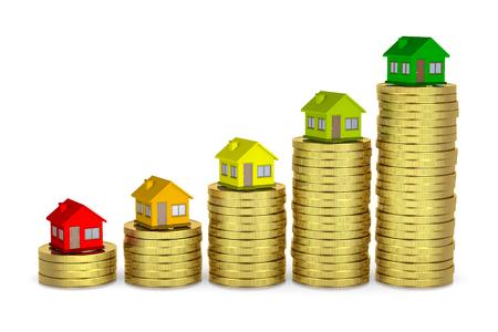 Het verhogen van Heaps van munten met House on Top, Energetic Class concept 3D-afbeelding op een witte achtergrond