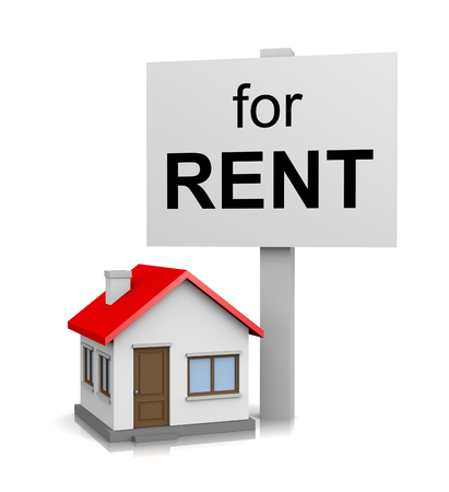 housing: One Single House with for Rent Text Notice on Signboard on White Background 3D Illustration