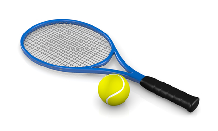 tennisball: One Single Tennis Racket and Ball 3D Illustration on White Background Stock Photo