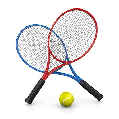 Twee Rackets en One Ball 3D illustratie op witte achtergrond Stockfoto