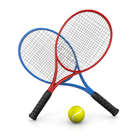 tennisball: Two Tennis Rackets and One Ball 3D Illustration on White Background