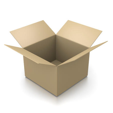 open box: Open Empty Cardboard Box Isolated on White Background 3D Illustration